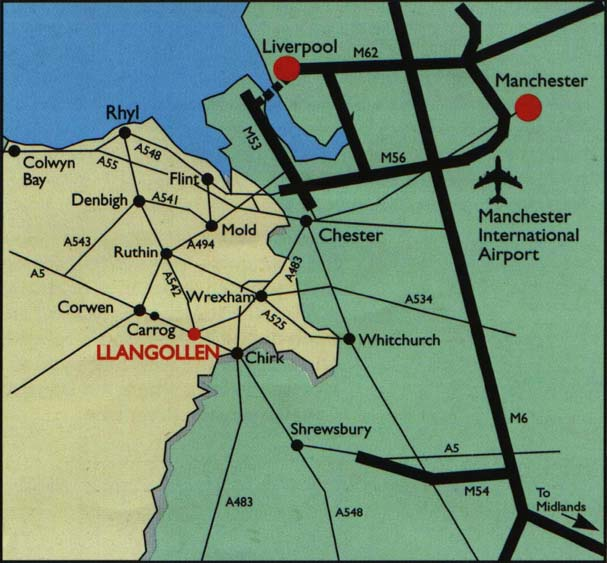 Location map of the Llangollen Railway.